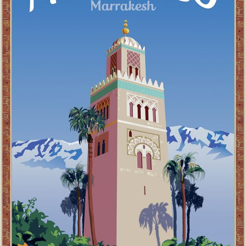 Marrakesh Travel Poster by Matt Hood, Graphics Without Borders