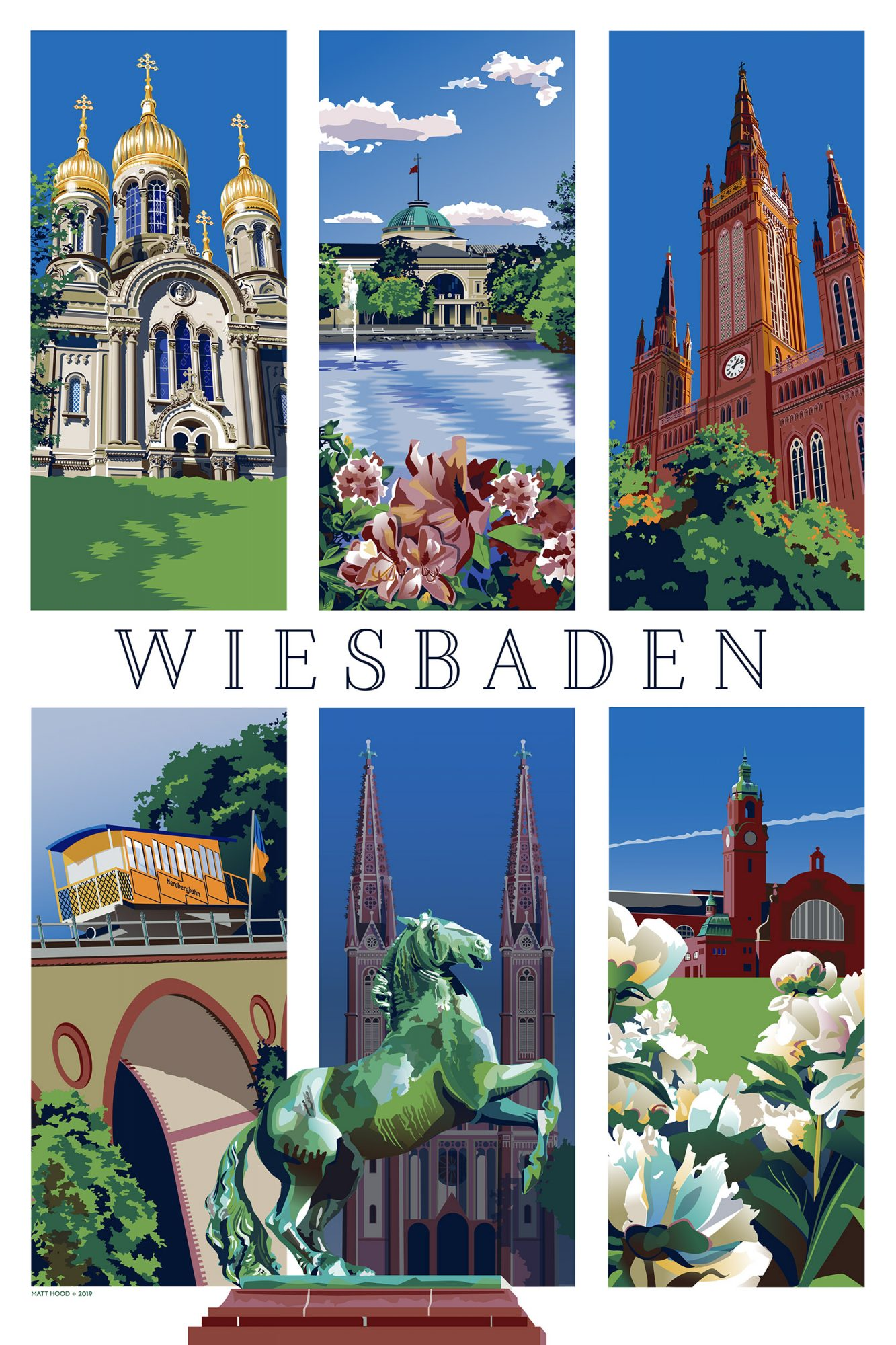 Wiesbaden Travel Poster by Matt Hood