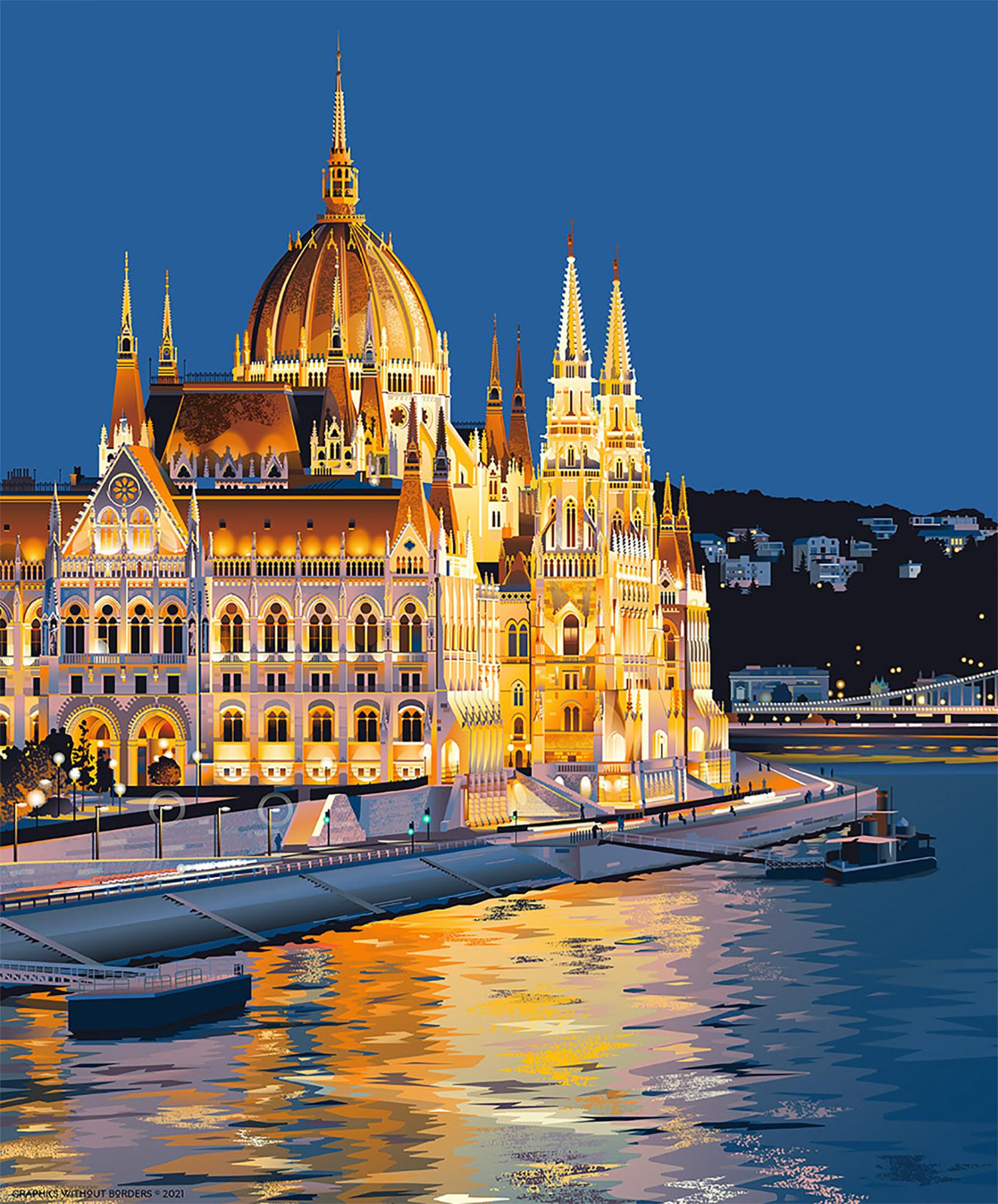 Detail of Matt Hood's Budapest: Queen of the Danube travel poster